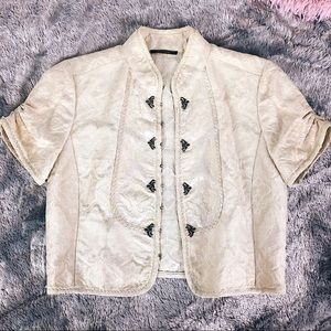 ELIE TAHARI | Elegant Crop Jacket Gold / Cream